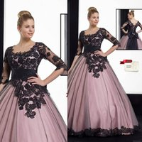 bianca dresses - New Angelo Bianca Color Ball Gown Wedding dresses Black Lace Long Bridal Gowns With Sleeves vestido de casamento