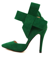 Women Pumps Spring and Fall Blue Black With Bow Slingbacks High Heeled Pumps Green Red Plus Size Women Shoes size 35 to 40 41