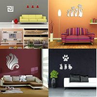 Grosses soldes!!! Argent Mirror DIY CatsFootprint Room Decor Autocollant Mural Art Mural Acrylique Decal excellente qualité
