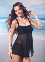 Revisiones Tankini negro l-Las mujeres atractivas rayadas del traje de baño del negro del traje de baño de la alta calidad que el acoplamiento Backless de la correa de los juegos de baño de la correa usan S-XXL de la playa
