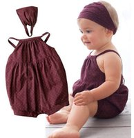 bebe belt - Hot selling baby girl clothes Deep red harnesses Head belt bebe newborn Summer baby clothing set hight quality