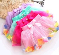 Wholesale Sweety Baby Girls Tutu Lace Skirts Flower Skirts Candy Color Bow Casual Skirts Mesh Deshin New Fashion Party Skirts ZJW009