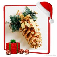 bargin prices - Xmas Gift Santa Christmas Tree Hanging Ornaments Big Pinecone With Silk Ribbon Lace Wide Belt Gold Silver Bargin Price Festival Decoration