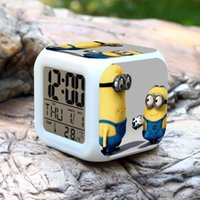 Wholesale Despicable ME Alarm Clock D Cartoon Cute Minions LED Lighting Clocks with Changing Colors Children Students digital clock designs Hot