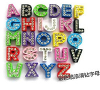 Wholesale Mixed Color sets Full Rhinestone Enamel Slider Spacer Bead Charms Letter A Z Beads Fit mm Belt Bracelets DIY Charms