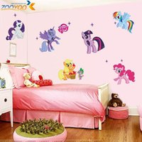 Wholesale my little pony d cartoon wall stickers for kids rooms zooyoo1425 home decoration diy wall decal for girls room wall decorations