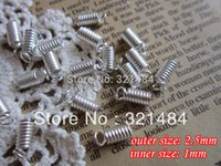 Cheap silver plated jewelry findings 2.5mm outer size spring crimp fastener clasps clips end caps for leather cord 1mm