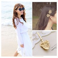 Wholesale Golden Vintage Hair Clip Olive Branch Leaves Starfish Whelk Pattern Beautiful Hairpin Hair Decoration Accessory W578