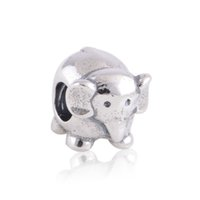 elephant charms - 100 Authentic Sterling Silver Threaded Cute Elephant Charm Animal Beads Fit European Style Jewelry Bracelets Necklaces LW142