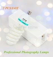 Wholesale W E27 Spiral Tricolor Photo Light Bulbs Photography Lighting Lamps Energy Saving for Photo Studio