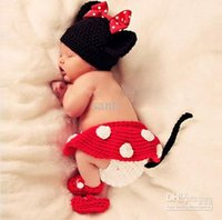 Cheap 3pcs Minnie Girl Infant Baby Hat+Skirt+Shoes Crochet Knit Photo Prop Costume NEW