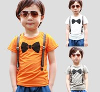 Cheap wholesale new 2015 summer and spring and summer boys short-sleeve bow tie print T-shirts fake suspender orange white tees free shipping
