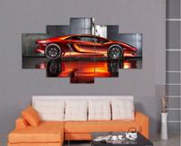 al por mayor artes de la pared naranja-Wall Art Picture 5 Panel fresco naranja Reflective coche de deportes grandes HD pintura de la impresión de la lona para la decoración de la sala de estar F / 899