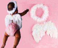 Wholesale Hot Sale White Feather Fairy Angel Wings Halo Baby Kids Festival Costume Photo Props