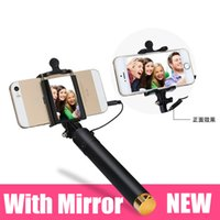 Wholesale Mini Extendable Wired Selfie Monopod Stick with Clip Mirror Tripod For iPhone For Samsung Cellphone Selfie Stick High quality Colorful