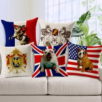 american flag chair - 2015 American British Flags Cushion Without Core Pet Nordic Royal Cotton Linen Sofa Chair Decorative Pillows Cushions Home Decor