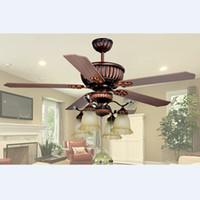 Wholesale Ceiling Fan European Retro Glass Wood Ceiling Fan Light Dining Room Pendant Light Remote Control Light L mm H mm