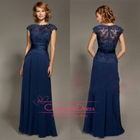 Reference Images Jewel/Bateau Chiffon 2014 Cheap Navy Blue Evening Dresses Crew Neck Cap Sleeve Sash Floor Length Chiffon Appliques Lace Illusion Bridesmaid Mother Gowns 1384