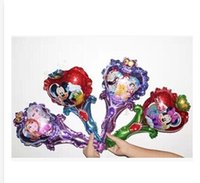 Wholesale 4 styles Frozen Anna Elsa Mickey Minnie Princess Magic wand Party Foil Balloons BIRTHDAY PARTY SUPPLIES balloon with clappers C811