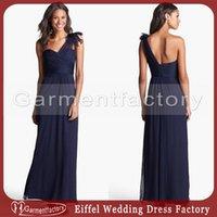 amsale chiffon bridesmaid dress - amsale one shoulder navy blue bridesmaids dresses a line sheer strap ruched bodice zipper back chiffon bridesmaid dresses