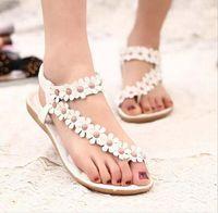 beaded thong sandals - Hot Summer Women Sandals Fashion Bohemia Womens Shoes Beaded Flower Sandalias Femininas Casual Thong Flats Shoes Women White Pink