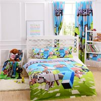 Wholesale 100 Original Cotton Minecraft Bedding Curtain Pillow Case Bedroom Bed in a Bag Single Double Queen Size for Fans