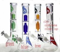 Wholesale 2016New design Glass water pipes glass bong with gear perc have mix colors same as the pictures