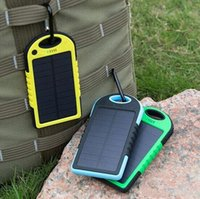 Cheap Dual USB Output Solar Panel Power Bank Charger for iPhone Smart Phone Camera Travel Outdoor Sports Waterproof LED Light 5000mAh Battery Q1