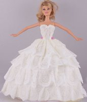 Wholesale New Fashion Handmade White Four tier Lace Wedding Dress Clothes Gown For quot Barbie Doll D1026