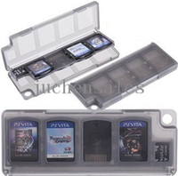 Wholesale 10 In Game Memory Card Holder Storage Card Case Box PS Vita PSV Plastic Black White Choice