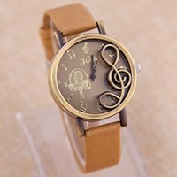 batteries musical - New Fashion Modern musical symbols Casual watch Women Personality Vine Leather Strap Quartz Wristwatch Relogio Clock
