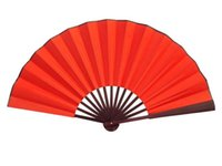 Wholesale Large Pure Red Dance Props Hand Fans DIY Program Chinese Silk Folding Fan