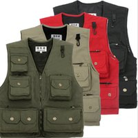 Wholesale Photography Multi Pocket Vest Canvas Not hooded polyester PET Outdoor Tactical Vest Colors Photography Vest multi pocket vest