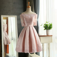 Wholesale Blush Bateau Neck Short Bridesmaid Dresses Half Sleeve Taffeta Lace Appliqued Formal Wedding Party gowns Knee Length Teen dress