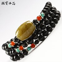 Cheap Pro-Bao Crystal Black Tourmaline crystal bracelet female models titanium barrel spacer beads amethyst citrine fashion jewelry bracelets