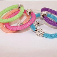acrylic magnetic - 2015 New Bohemian Stardust Bracelet Brand Women Crystal Wrap Wristband Rhinestone shangrila Magnetic buckle bracelets bangles Factory Price