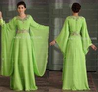 Cheap 2014 Arabic Kaftan Vestidos de fiesta formales long Sleeve Appliqued V-neck Women's Long Party Dresses Abaya Dubai Evening Gowns LV501