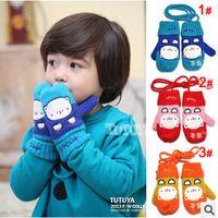 Wholesale children gloves boys girls Cartoon towel bear plus velvet kids gloves mix colors pairs dandys