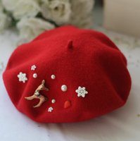 animal painters - New Christmas Caps Women Beret Beanie Wool Dome Hat Warm Felt French Hat Cute Painter Headwear Pillbox