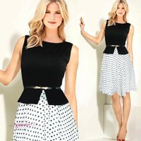 tunic - 2015 New Fashion Women Summer Dress Vintage Celeb Belted Polka Dot Party formal dress Wear To Work Tunic evening party Dresses gown OXL13195