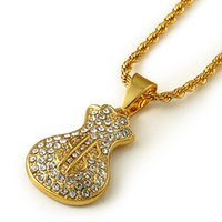 bags singapore - Metal K Gold Plated USD Bags Pendant For Men Women Hipsters Rap Hip Hop Necklace Street Dancing Trendy Long Chain Punk Jewelry