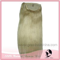 Wholesale 2014 Fashion Natural Hair Ponytails grams Piece color P163 High Quality Ponytail Women Straight Long Blonde Hair