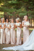 Wholesale 2015 Backless Sparks Gold Sequin Bridesmaid Dresses Blush Tone Stunning Cap Sleeves Maid of Honor Dress