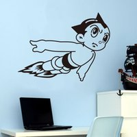 atom stickers - Flying Cartoon robot Atom wall stickers for kids room waterproofing wall decals Mural boys room decor
