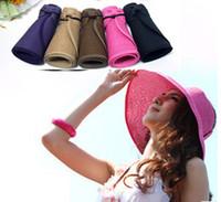 Cheap Fashion Woman Wide Brim Roll Up Sun Straw Beach Hat Visor Cap Foldable