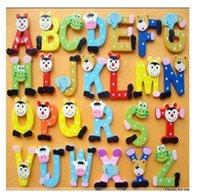 Wholesale Wooden Cartoon Alphabet A Z Letters Fridge Magnets Child Educational Toy E5391