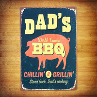 tin sign barbecue paint - DAD S world famous barbecue TIN SIGN Metal Painting Vintage Retro Diner Restaurant Wall Decor Art Kitchen Bar Pub Plaque Home Decoration