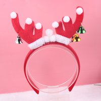 antler hair ornament - Xayakids Hairpin Christmas ornaments children new red elk antlers hoop bell headband holiday headwear accessories Baby Headband