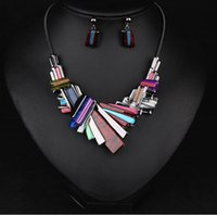 asian striped shirt - Jewelry Sets With Earrings And Necklace Matching Dress or T shirts N501 series of Retro Geometirc Striped Clavicle
