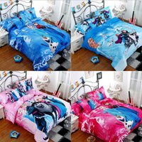 single bed - Frozen Elsa Anna Olaf D cartoon kid child bedding sets Princess Frozen bed set twin single double queen size in different pattern MYF21